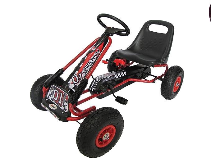 Kiddo RG0209 - Pedal para niños con diseño de Carrera, Color Rojo, para Montar en Coche, Asiento Ajustable, neumáticos de Goma, Apto para niños de 4 a 8 ...