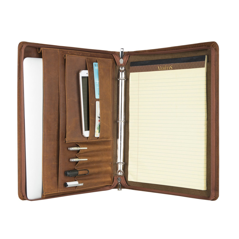 Brown Crazy-Horse Full-grain Leather PadFolio Rustic Leather Organizer Laptop Portfolio
