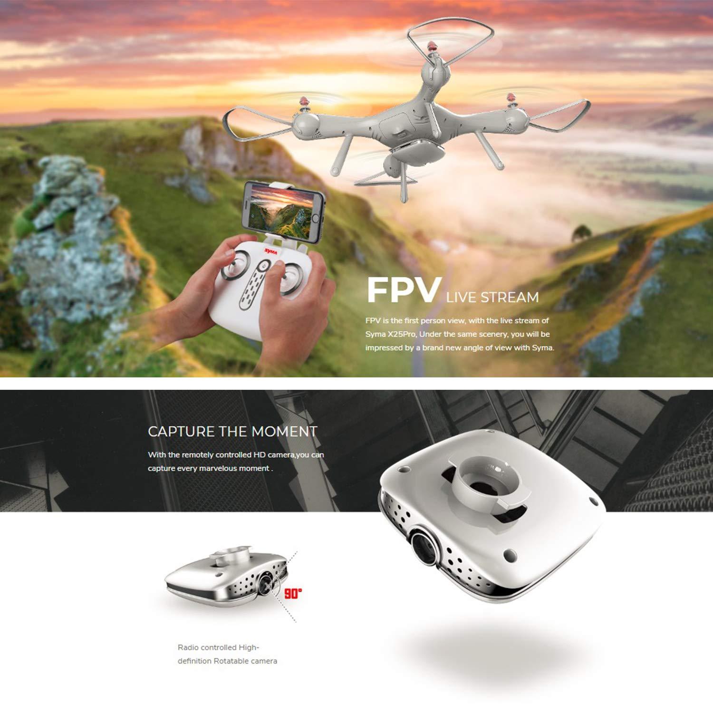 FairytaleMM Syma X25PRO RC FPV Quadcopter Drone 720P HD WiFi Einstellbare Kamera GPS