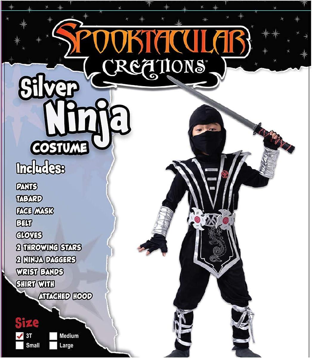 Amazon.com: Juego de disfraz de ninja plateado con ...