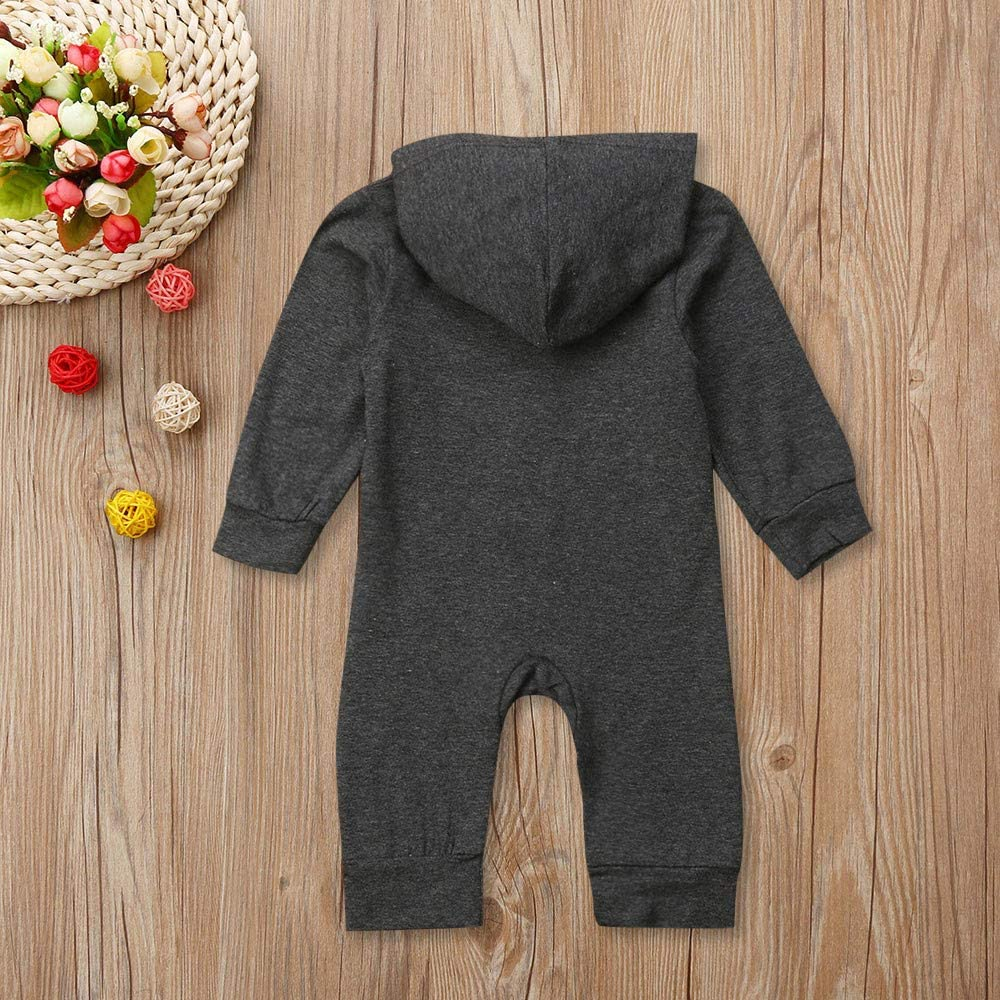 kaiCran Baby Romper,Boys Girls Long Sleeve Solid Button Up Hooded Jumpsuit Romper Outfits Kids