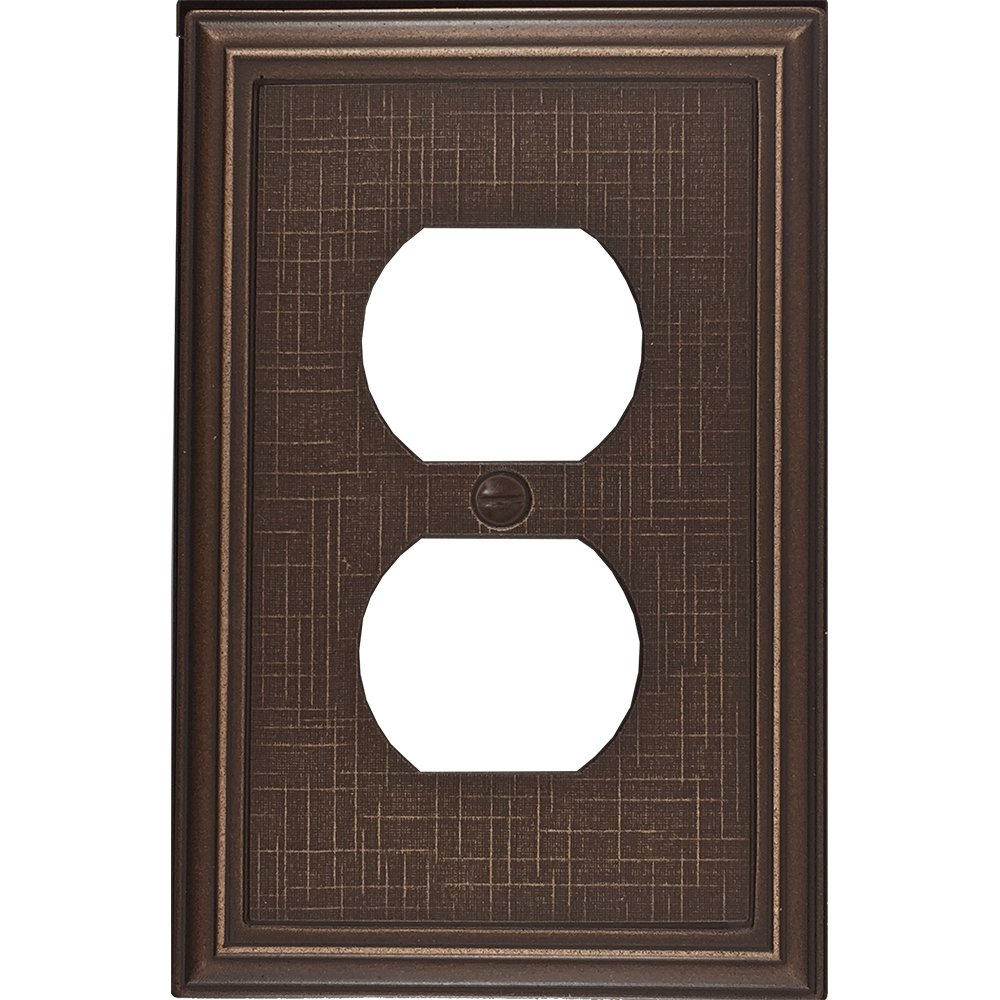 Questech Linen Textured Decorative Switch Plate/Wall Plate/Outlet Cover (Single Duplex, Oil Rubbed Bronze)
