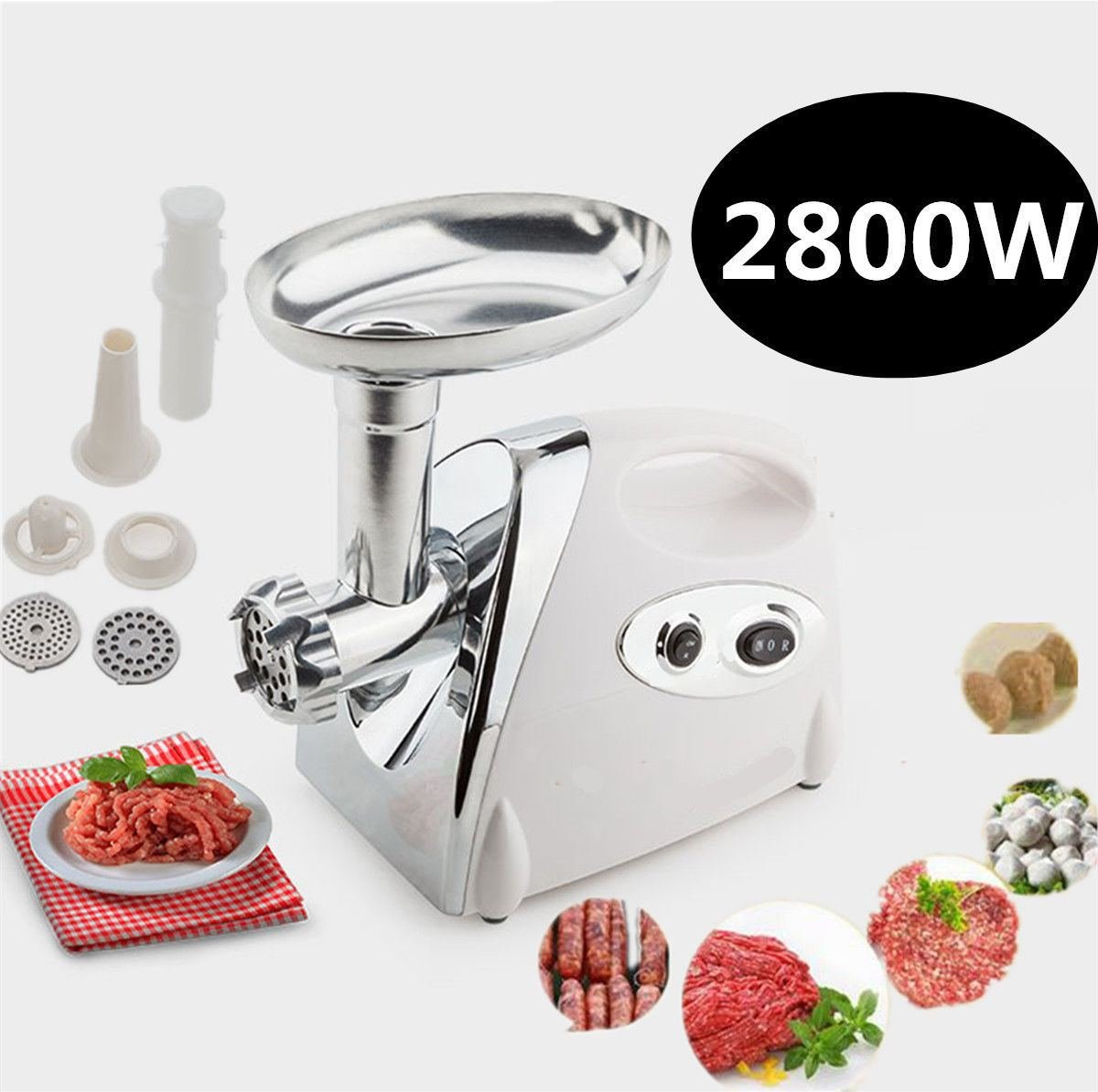 Home&Industrial Electric Meat Grinder Sausage Stuffer Stainless Cutter 2800W US