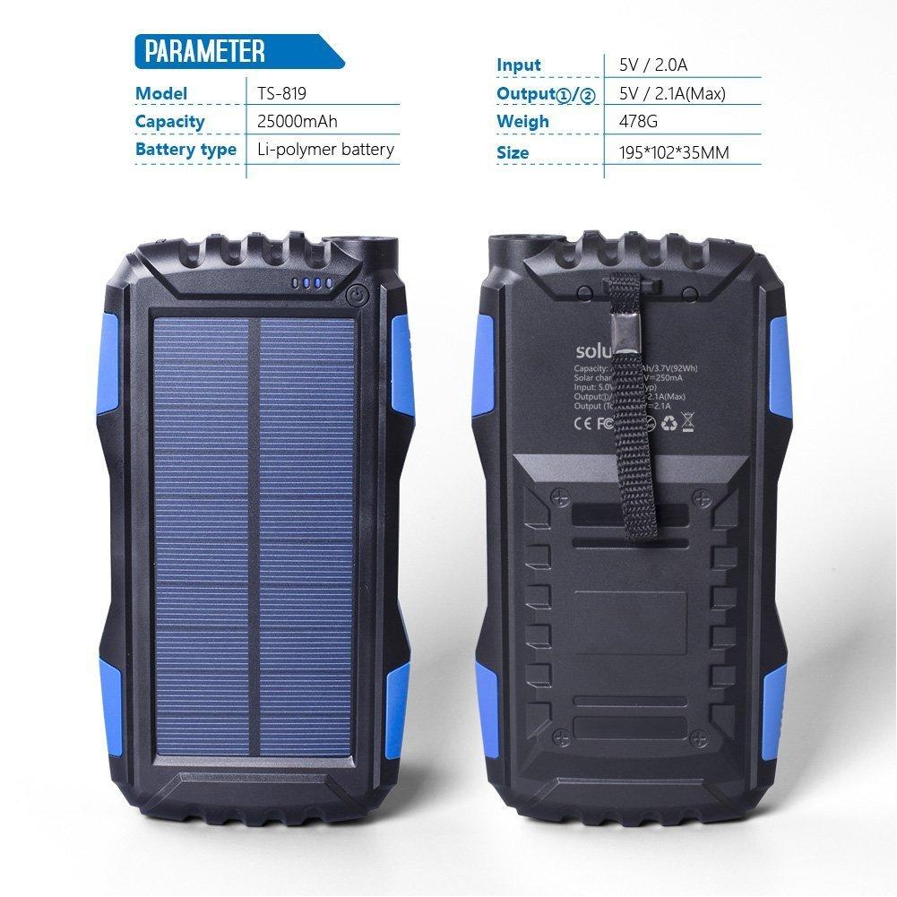 Amazoncom Soluser 25000mAh Portale Solar Power Bank