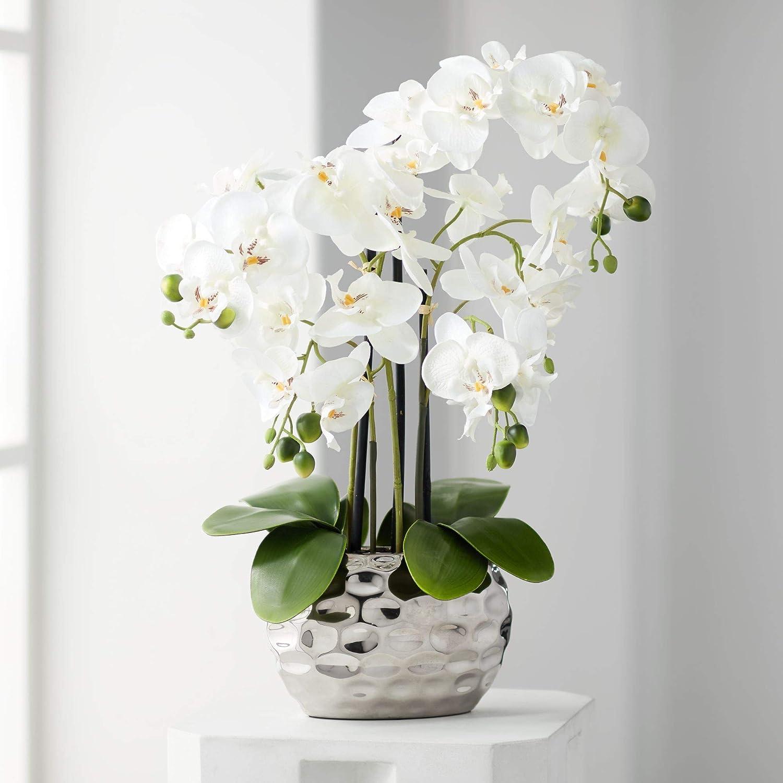 Artificial White Orchid Plant in a Silver Ceramic Pot