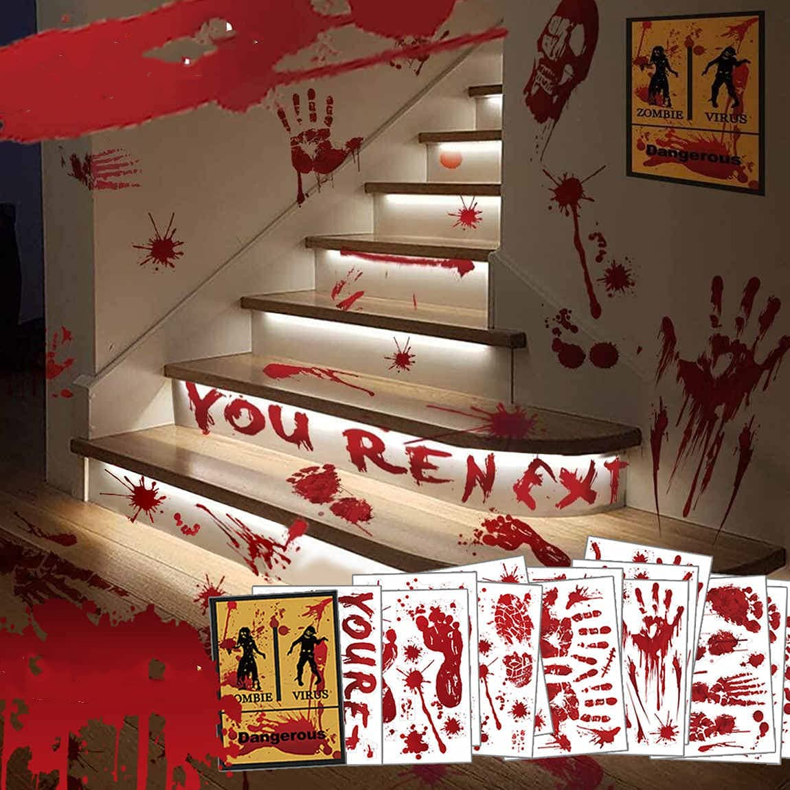 Halloween Decorations Bloody Handprint Footprint Clings, 135PCS Scary Floor Window Stickers, 14 Sheets Creepy Wall Decals for Halloween Party Decorations Haunted House Vampire Zombie Decor