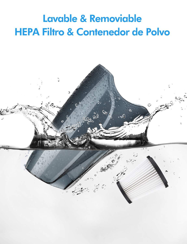 Holife Aspiradora Escoba de 15Kpa 800ml Vertical y Port/átil Ajustable Clase de eficiencia energ/ética A+ con 2 Filtros HEPA Lavables y 3 Cepillos Aspirador Vertical 2 en 1