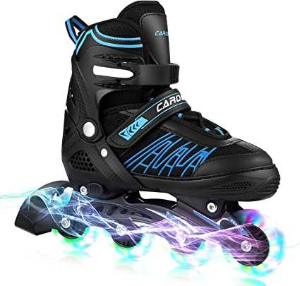 Inline Skates Kids Inliners Roller Skates 4 Wheels Flash Childrens Inline Skates Adjustable Shoe Size for Girls Boys