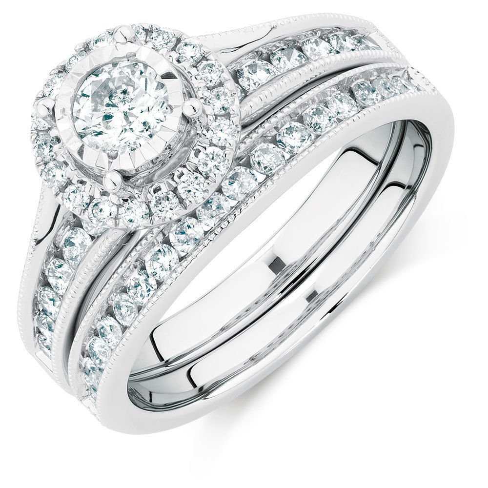 Silvercz Jewels 1 Carat Diamond Halo Engagement & Wedding Ring Bridal Set 14k White Gold Fn 925