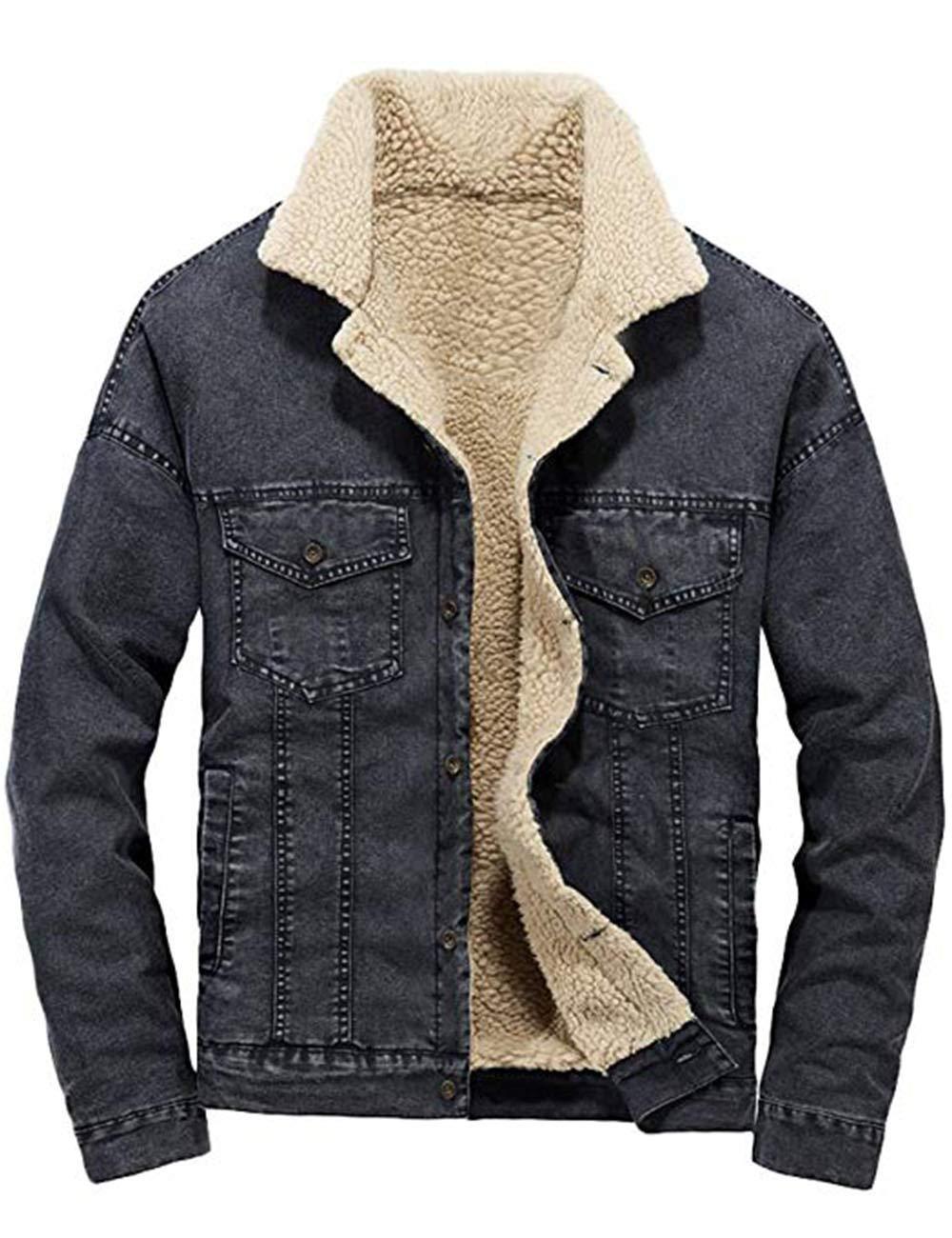 Zenthace Men's Classic Faded Denim Jacket Sherpa Lined ...