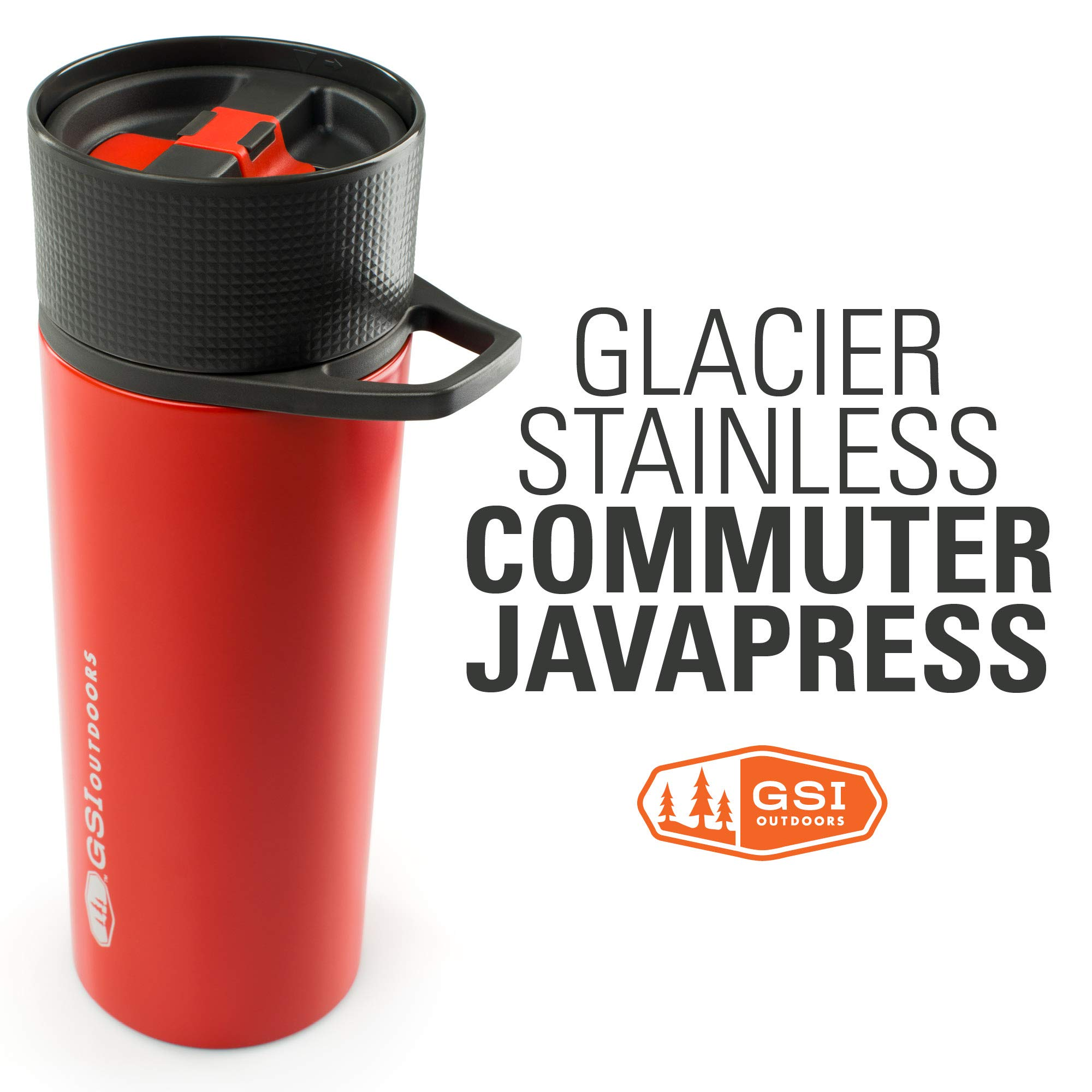 GSI Outdoors - Glacier Stainless Commuter JavaPress, French Press Coffee Mug, Superior Backcountry Cookware Since 1985, Red by GSI Outdoors