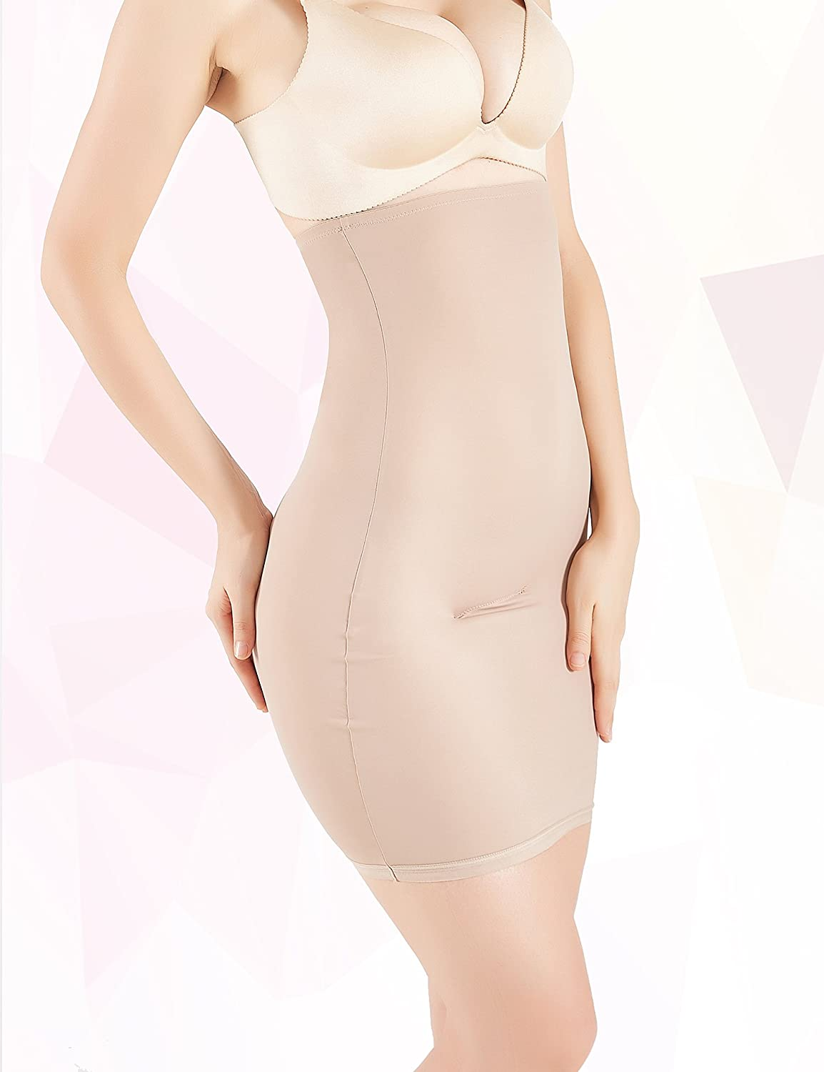 1a159d315a MUKATU Women s Invisible High Waist Shaping Panty Slimming Control Skirt  Firm Tummy Control Half Slip Shapewear for Under Dresses