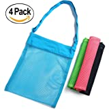 Skyocean Mesh Beach Bag (4 pack) 11.4 x 13.7inch with Adjustable Straps For Beach Camping Travel Sea Shell Collection Bathing Suit Pools Toy ECO Reusable Storage Tote Bags (Pink Black Green Blue)