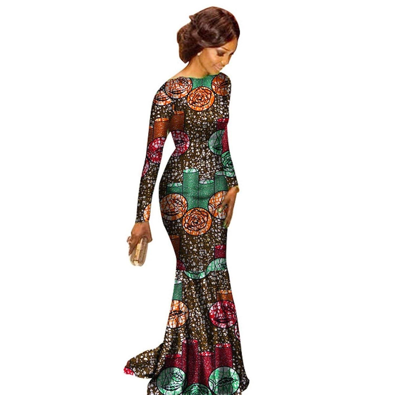 79c7ad26ff Amazon.com: African Clothing Ankara Dashiki Kanga Long-Sleeve Dress for  Women Cotton Wax Print Plus Size Amazon: Clothing