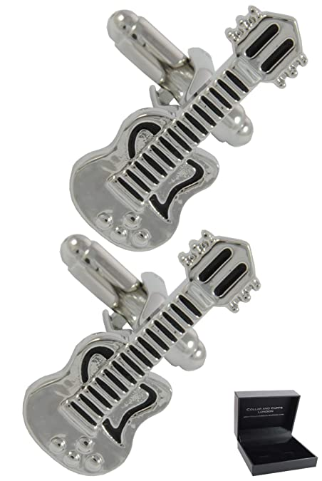 COLLAR AND CUFFS LONDON - Gemelos Caja DE Regalo - Guitarra Electrica - Latón - Música Instrumento Musical Profesor - Color Plata y Negro: Amazon.es: ...