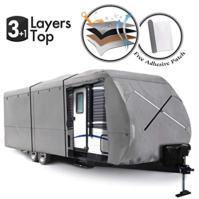 XGEAR 2020 Upgraded Thick 3-Ply Top Panel Travel Trailer Cover- Ripstop Waterproof RVs Covers with Storage Bag and Windproof Buckles (30'-33'): Automotive