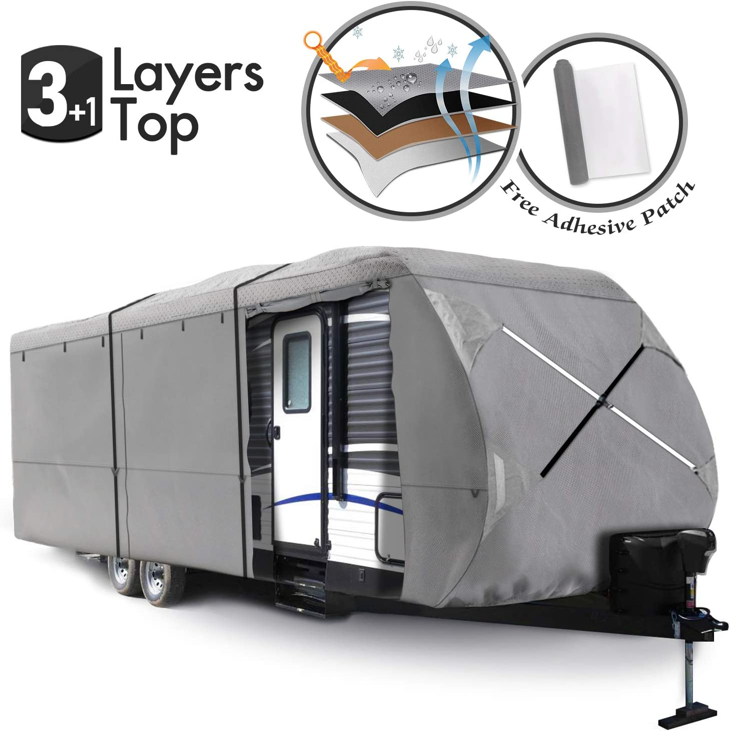 XGEAR Thick 3-Ply Top Panel Travel Trailer Cover 18-20 Ripstop Waterproof RVs Covers with Storage Bag and Windproof Buckles