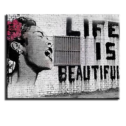 PIY Cuadro sobre lienzo Pintura Banksy La vida es bella Arte de la ...