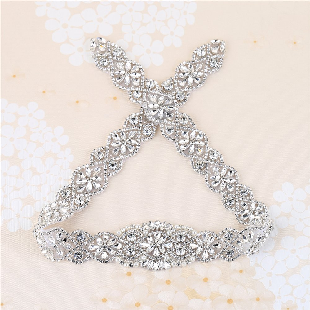 XINFANGXIU Rhinestone Wedding Dress Applique, 29.7 x 1.9 In, Crystal Pearl Beaded Applique Trim Handmade Satin Ribbons Long for Bridal Sashes Belts - Silver