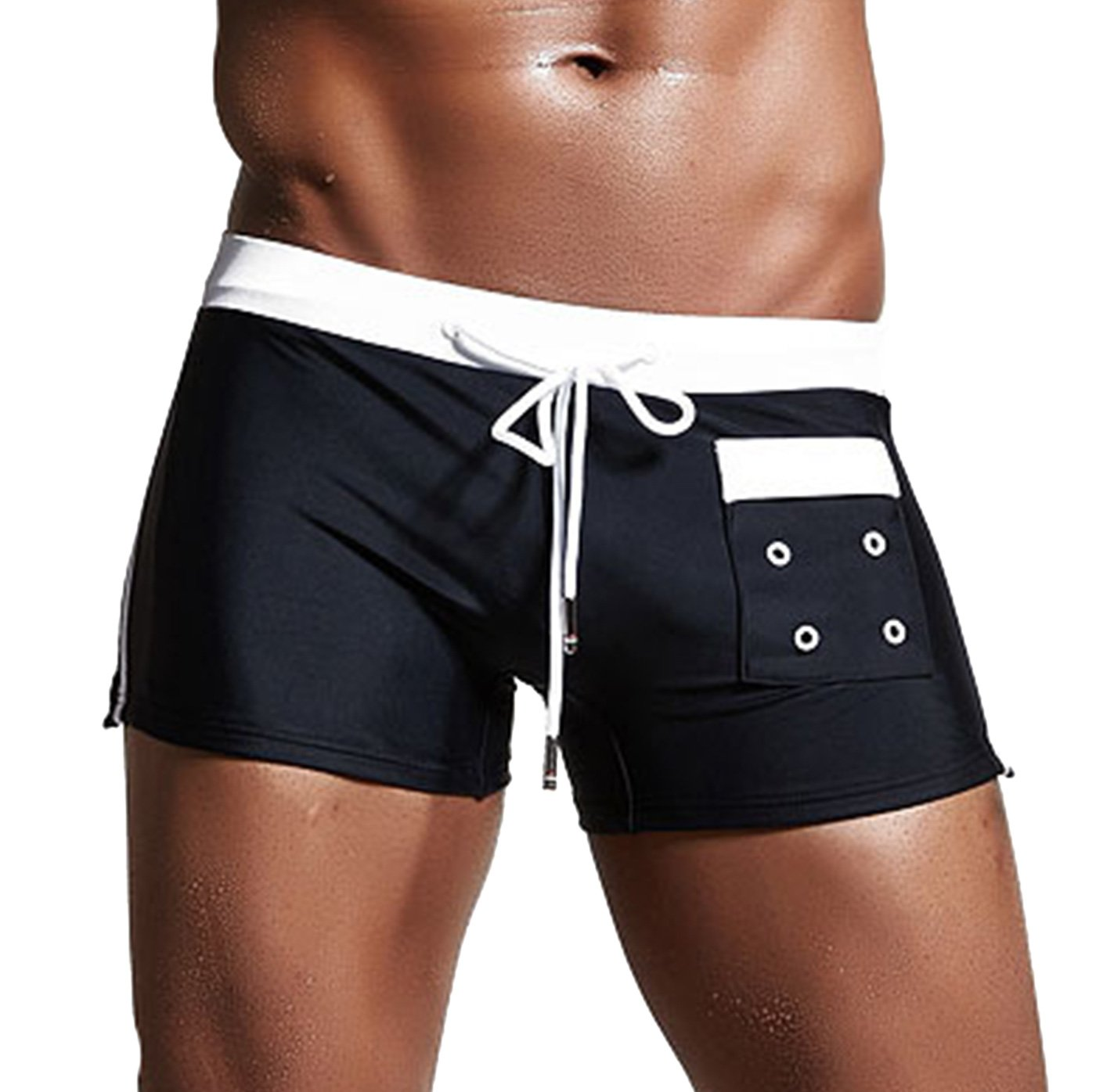 SUPERBODY Mens Solid Suqare Leg Swimsuit Quick Dry Pocket Boxer Brief Swimwear