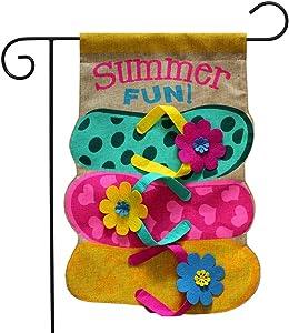 "Briarwood Lane Summer Fun Flip Flops Burlap Garden Flag Nautical 12.5"" x 18"""