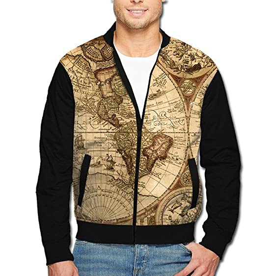 Men world map zip up jacket hooded sweatshirt black at amazon mens men world map zip up hoodie jacket black gumiabroncs Gallery