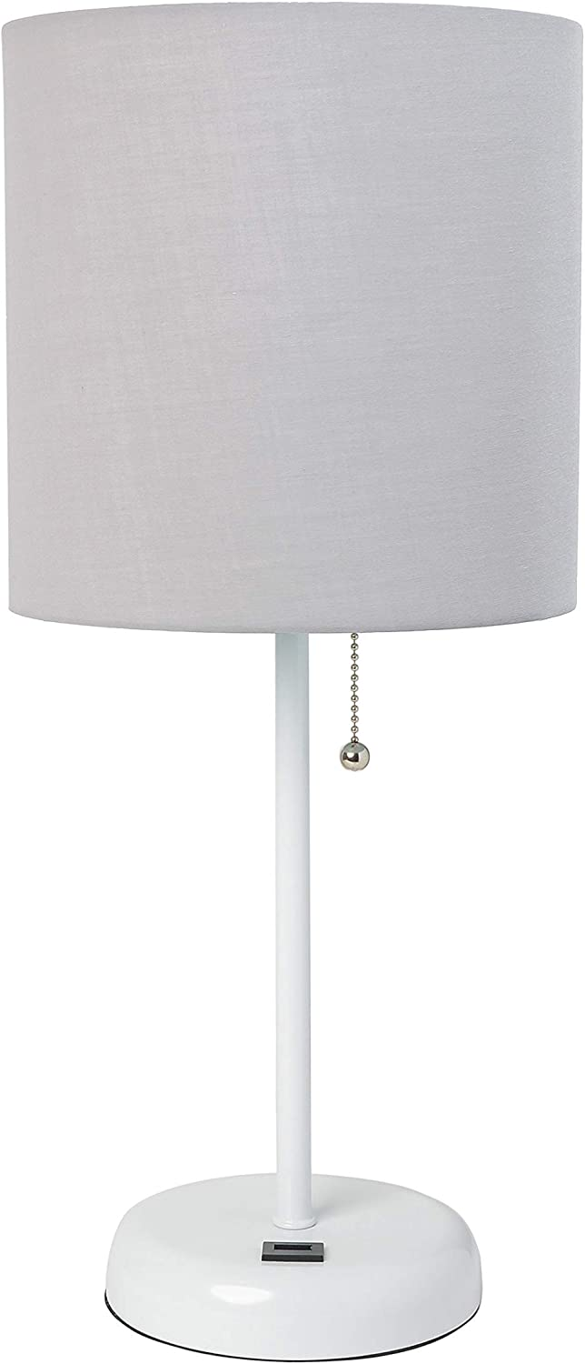 Limelights LT2044-GOW Stick USB Charging Port and Fabric Shade Table Lamp, White/Gray