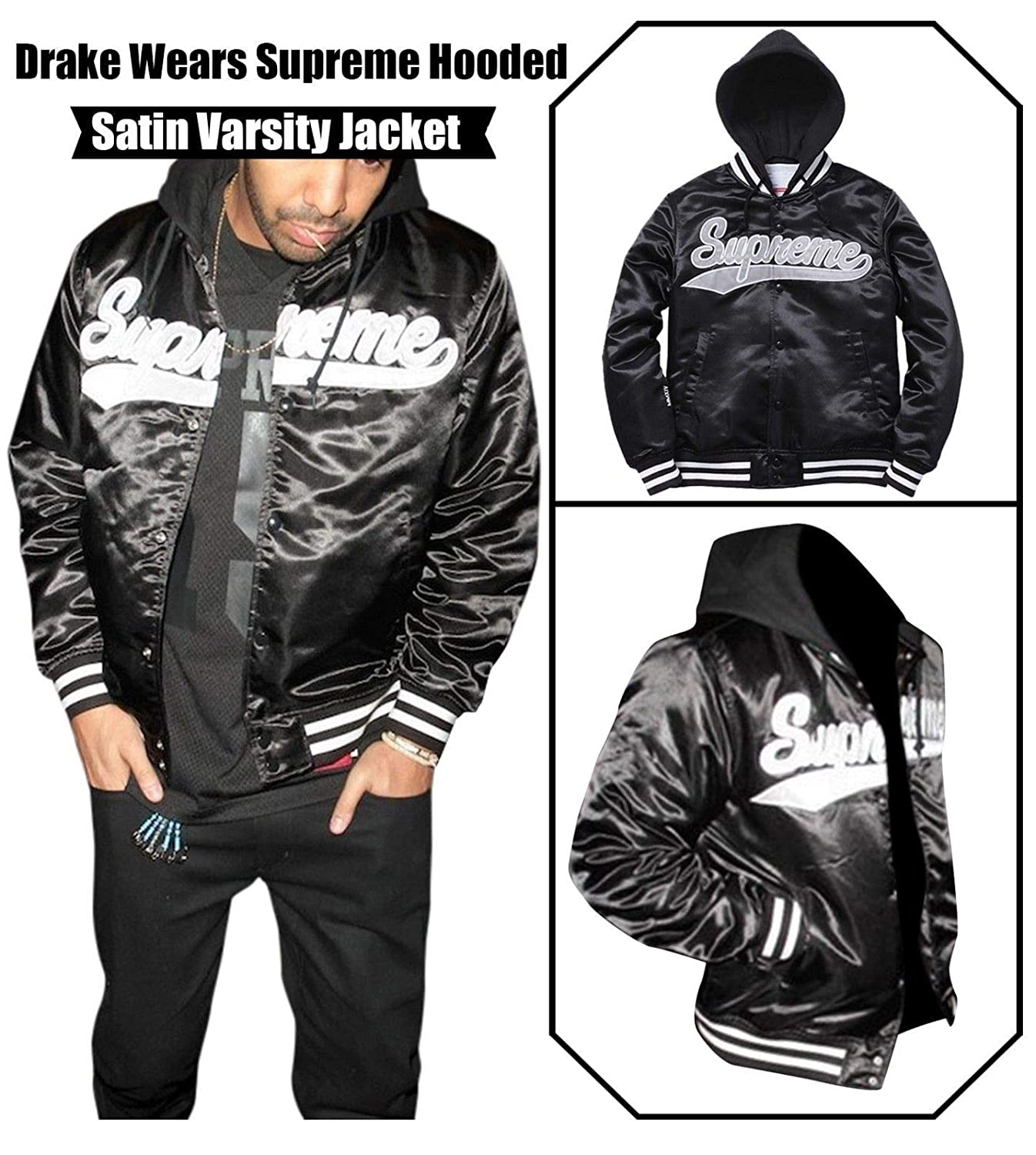 NM Fashions Men's Black Drake Bomber Wears Hooded Supreme Versity Satin Jacket NMFashions Down