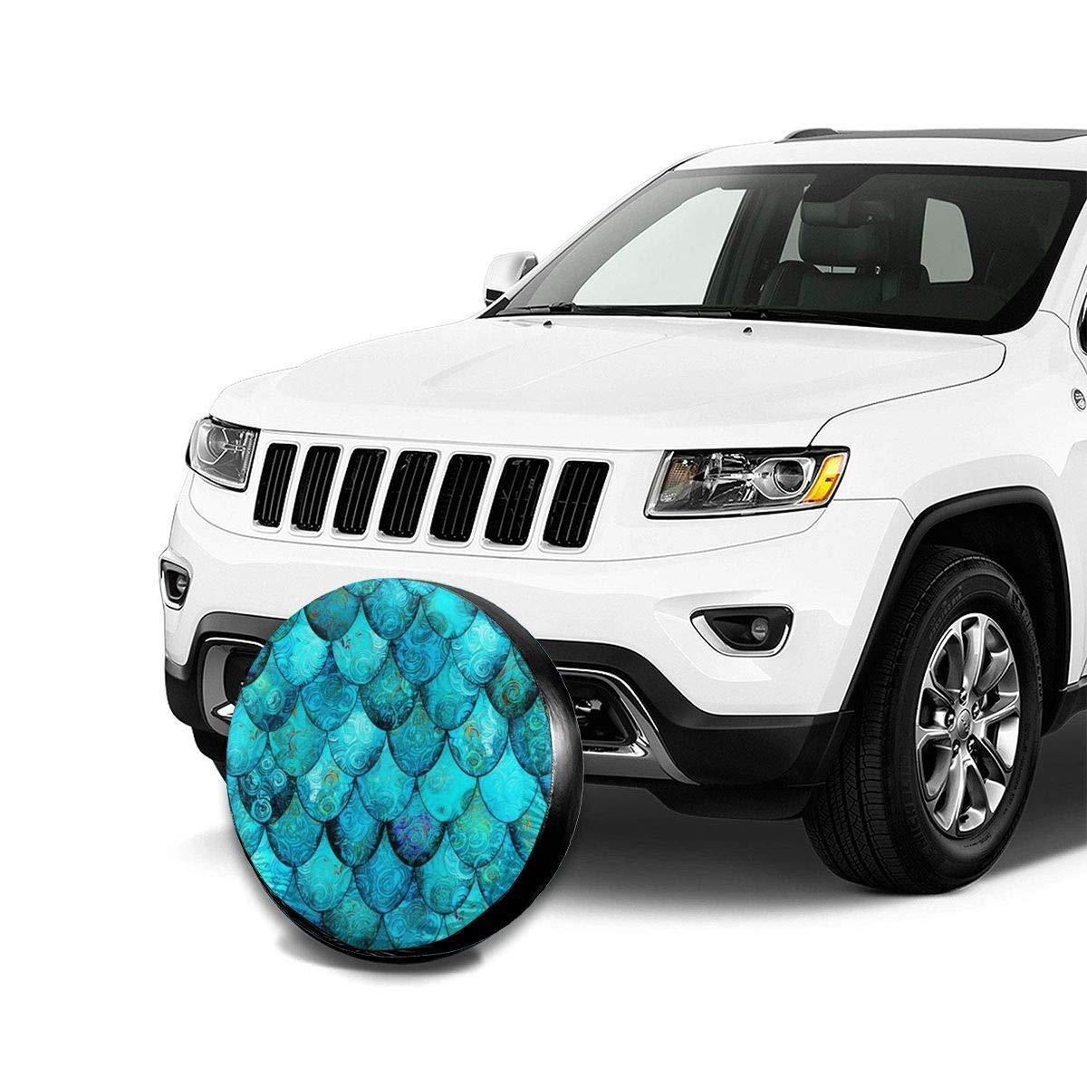 14,15,16,17 Inch Vbnbvn Cubierta de La Rueda de Repuesto Blue Mermaid Potable Polyester Universal Spare Wheel Tire Cover Wheel Covers Jeep Trailer RV SUV Truck Camper Travel Trailer Accessories