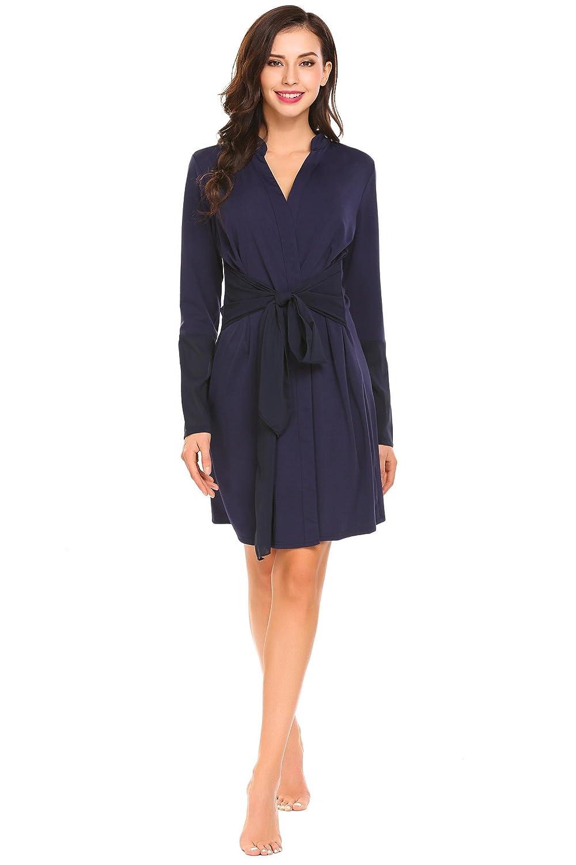 Adome Long Sleeve Kimono Robe Chiffon Patchwork Dressing Gown Sleepwear S-XL