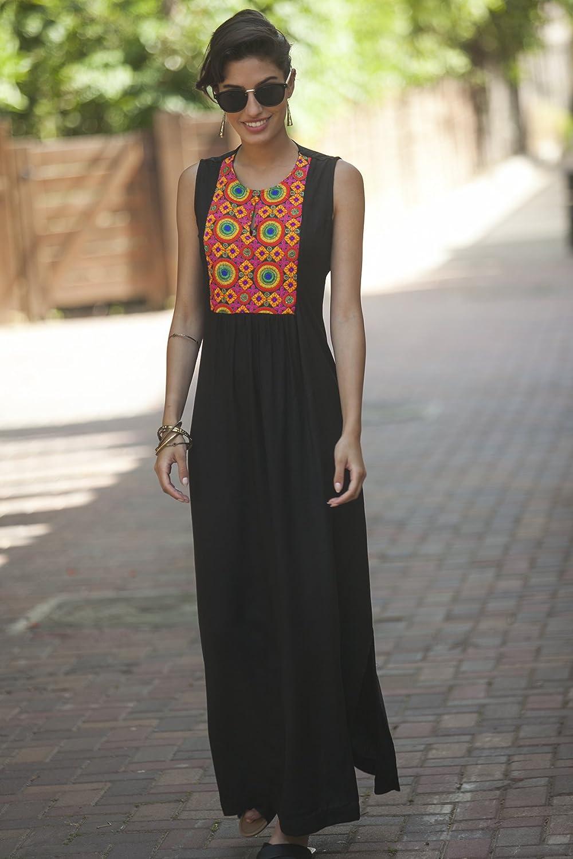 Women's Black Bohemian Kaftan, Ethnic Maxi Summer Dress, Tribal Long Caftan Indian Embroidery Dress