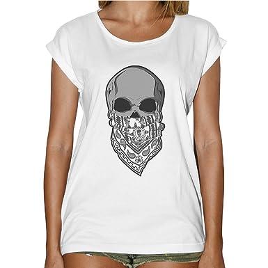a918fe7a8f7d T-Shirt Femme Fashion Tête de Mort Skull Bandito Western Bandana-Blanc   Amazon.fr  Vêtements et accessoires