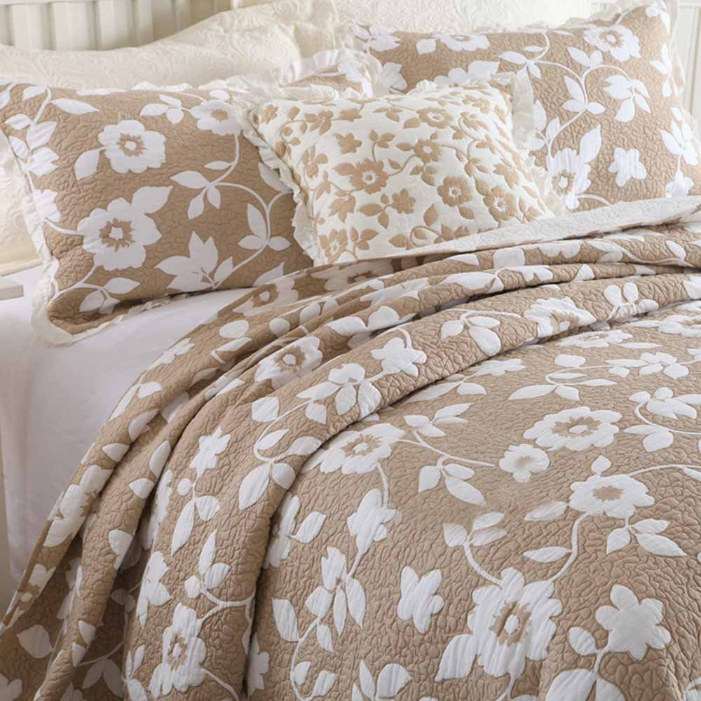 MicBridal 100% Cotton Reversible Coverlet Set Floral Printed Quilt Sets 3 Pieces Bedspread with Shams (Queen, Coffee) by MicBridal (Image #2)