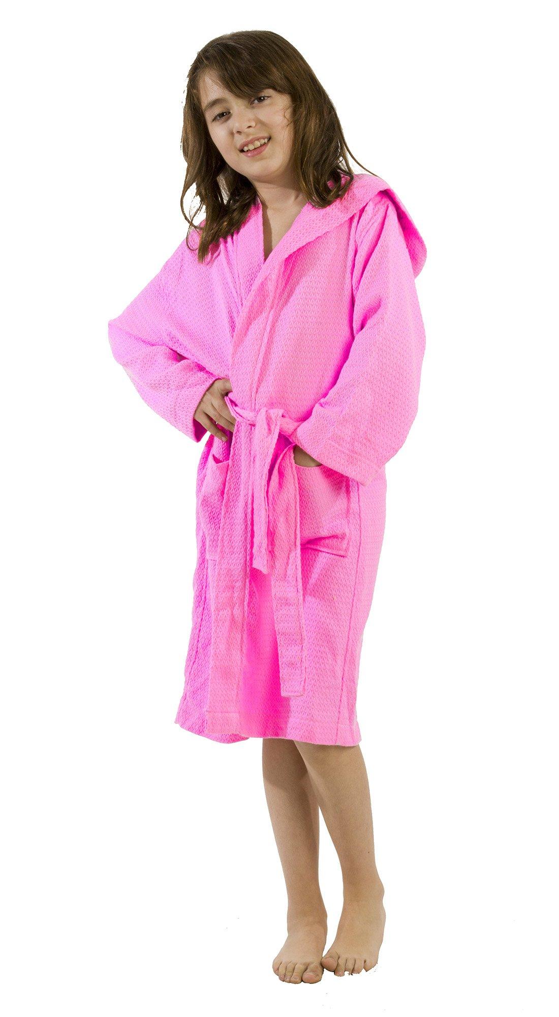 Hooded Kid's Bathrobe, Bamboo Robe for Boys and Girls, Size Medium, Pink Robe