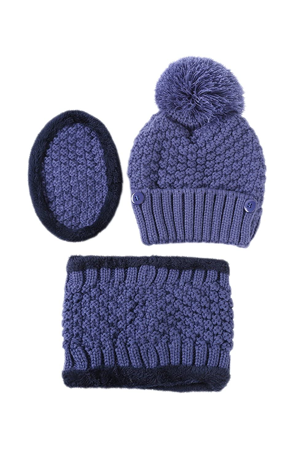Women Knit 3 Pieces Mask Beanie Caps And Circle Scarf Warm Fleece Hat Set Blue One Size