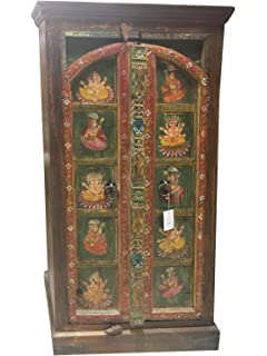 Mogul Interior Antique Green Armoire Ganesha Hand Painted Conscious Design  Cabinet Hand Carved Indian Decor