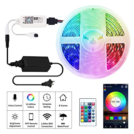 Rusunde LED Strip Lights WiFi Wireless Smart Phone APP Controlled Waterproof Light Strip Kit 5050 LED Lights Sync to Music,Compatible with ...