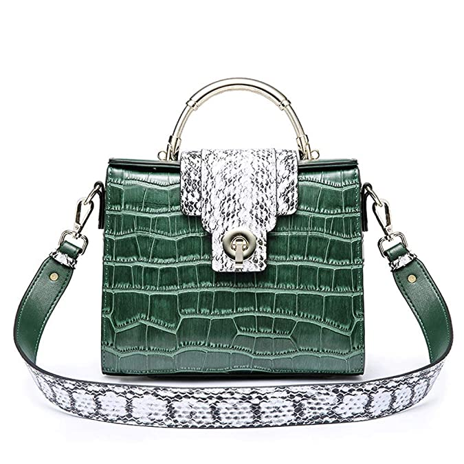 HWYP Vintage Handtasche - Lederhandtasche, Kelly-Frau, Krokodil-Umhängetasche, tragbare Messenger-Mode-Tasche, Damen-Ledertas