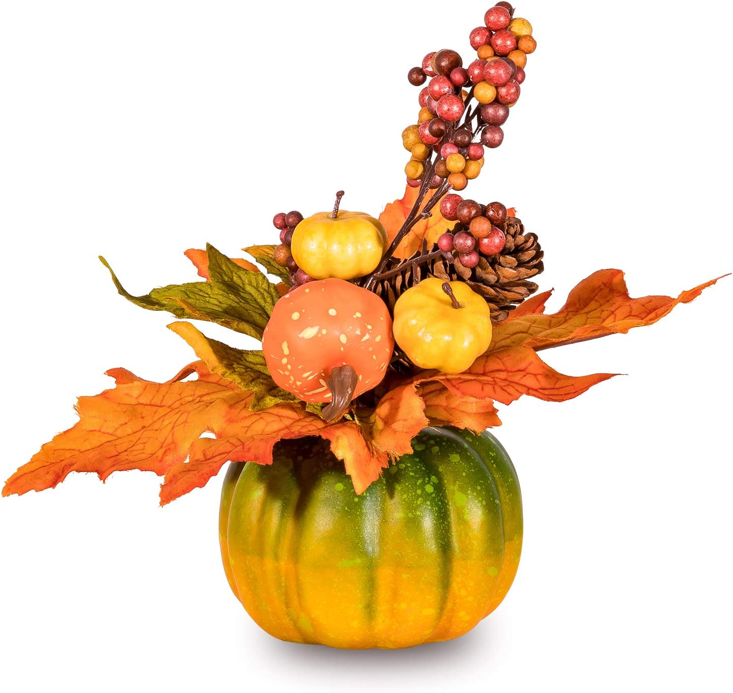 Whaline Artificial Pumpkin Ornament Fall Maple Leaf Pinecone Berry Set Decor Pumpkin Photography Table Centerpiece Props for Autumn Home Party Ornaments Store Halloween Table Decor