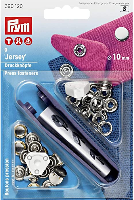 Prym 10mm Jersey Press Fasteners Silver Ring 10 pieces 390107