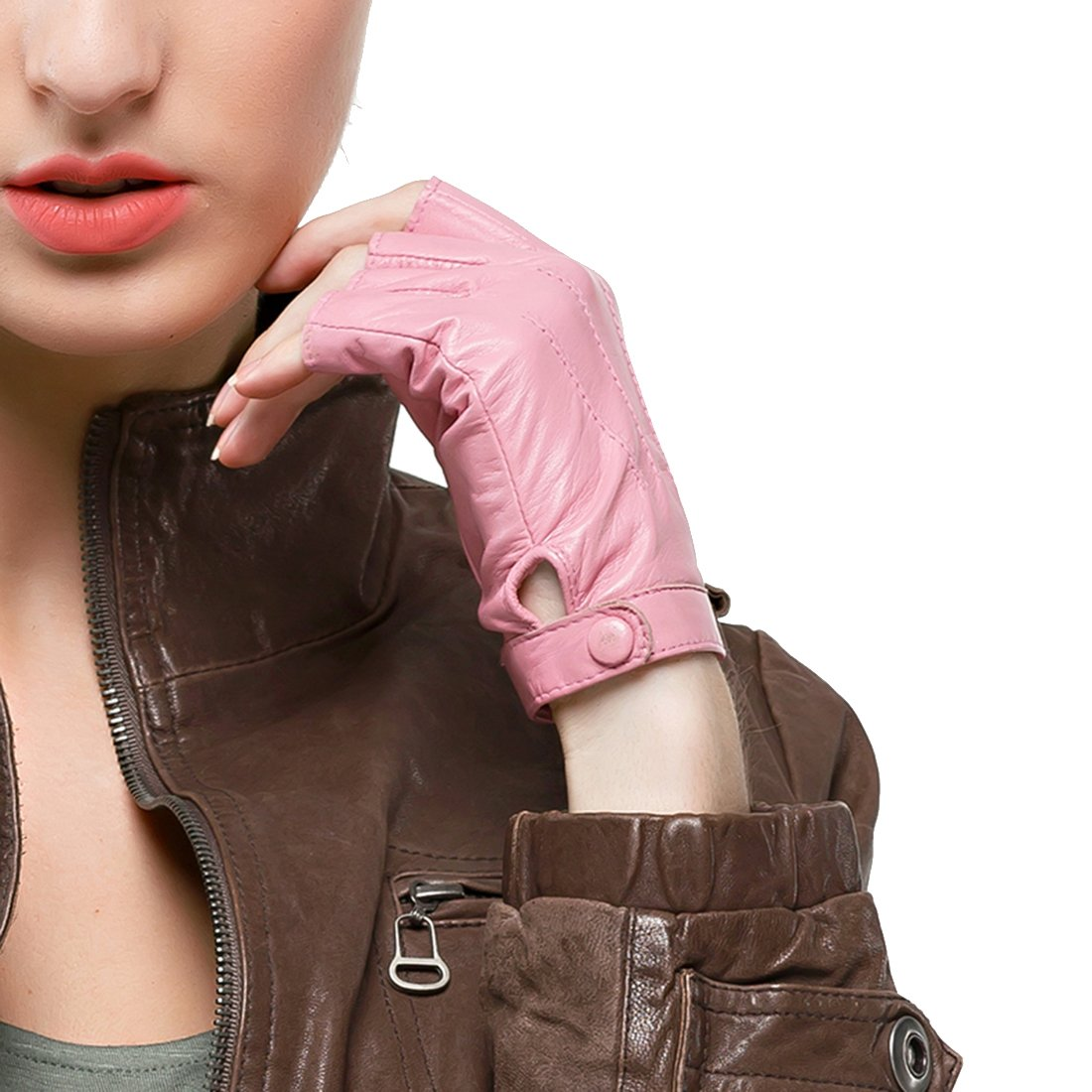 Nappaglo Women's Driving Leather Gloves Nappa Leather Half Finger Fingerless Gloves Fitness Lined Gloves for Driving Cycling Motorcycling (L (Palm Girth:7.5''-8''), Pink)
