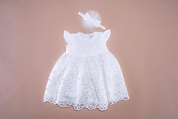 Soffi Kids Edel Festkleid Taufkleid mit Haarband Hochzeitskleid Ivory