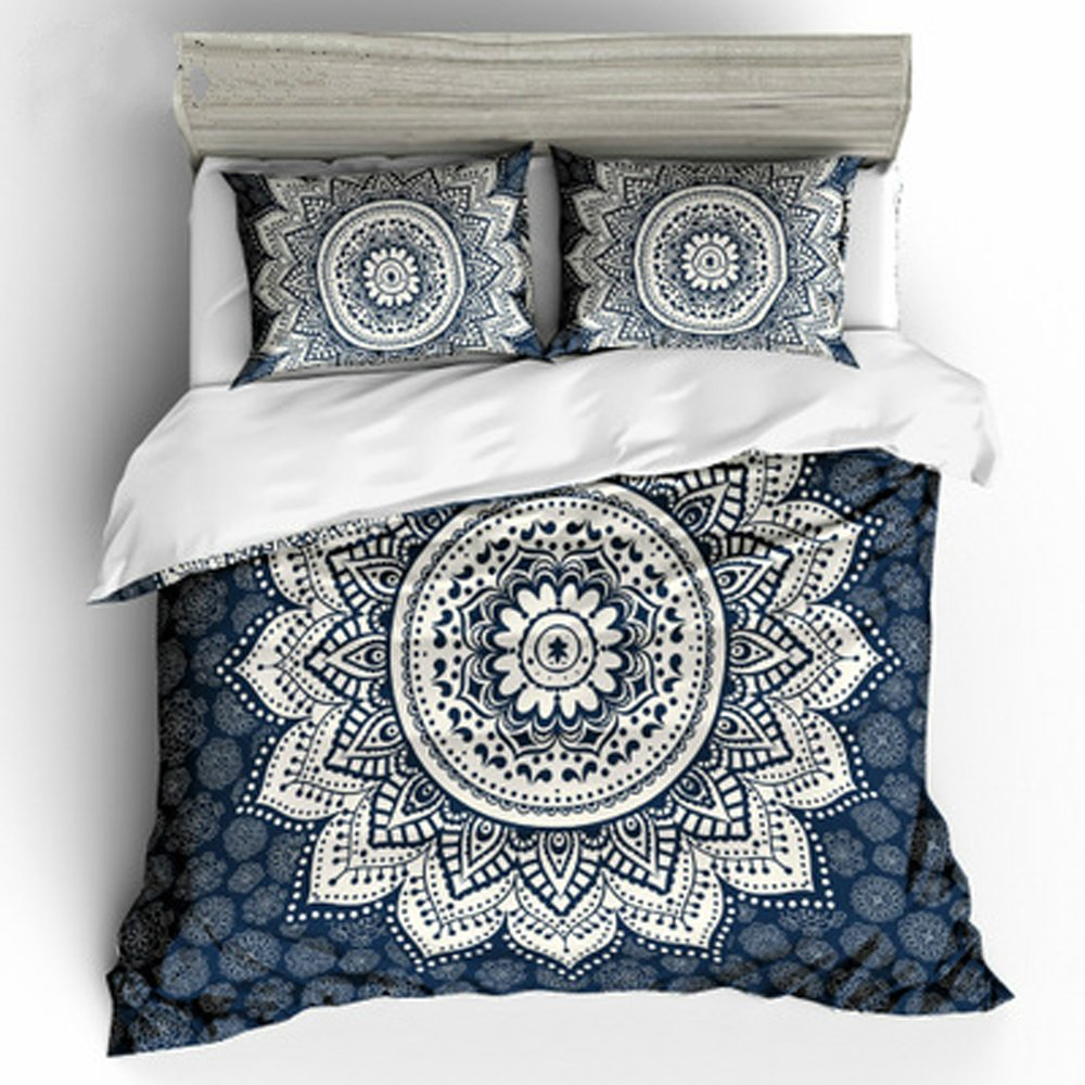 Koongso 3 Pcs Bohemian Bedding Boho Bedding Crystal Arrays Bedding Quilt Bedspread Mandala Hippie Duvet Cover Set (Full Dark Blue)