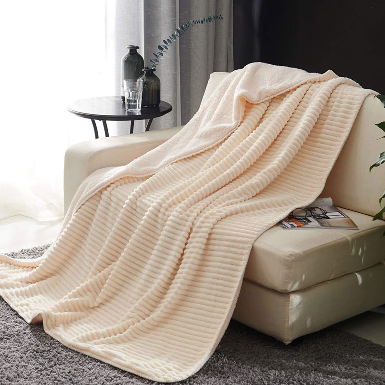 秋と冬の毛布子羊のビロードの毛布二重層フランネルクリスタルビロードの毛布厚いビロードのカーペット B07MQSP8W9 White