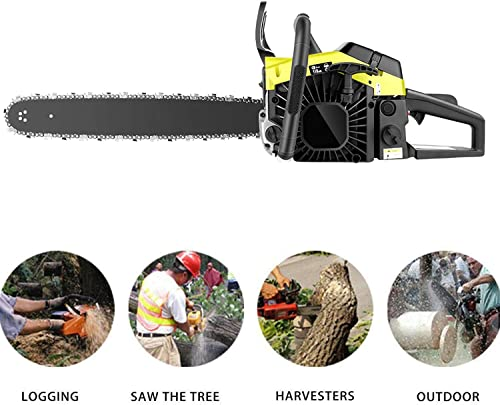 elifine 20 Inch Chainsaw 58CC 2-Stroke Gas Powered Chainsaw,Handheld Cordless Gasoline Chain Saw for Cutting Wood Outdoor Handed Tool Kit for Farm,Garden and Ranch