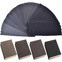 JZK 42 x schuurpapier + 4 x schuurspons schuurpads 36/60/100/120 voor leer hout metaal glas kunststof