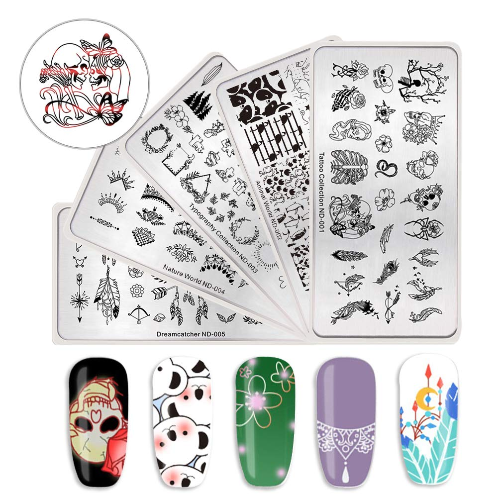 NICOLE DIARY Nail Rectangle Stamping Plates Kit Animal Floral Series Printing Templates DIY Manicure Nail Art Image Plate 5 Pcs