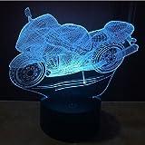 SANVA Kreative 3D LED Lampe USB Nachtlichter Stimmungslichter Schreibtischlampen Touch-Taste Wohnzimmer Art Sculpture Leuchtet in verschiedenen Farben und produziert einzigartige Lichteffekte und 3D-Visualisierung - Erstaunliche Optische Täuschung (Motorrad)