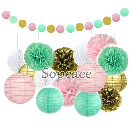 Amazon.com: sopeace Oro Flores y de papel de seda rosa ...