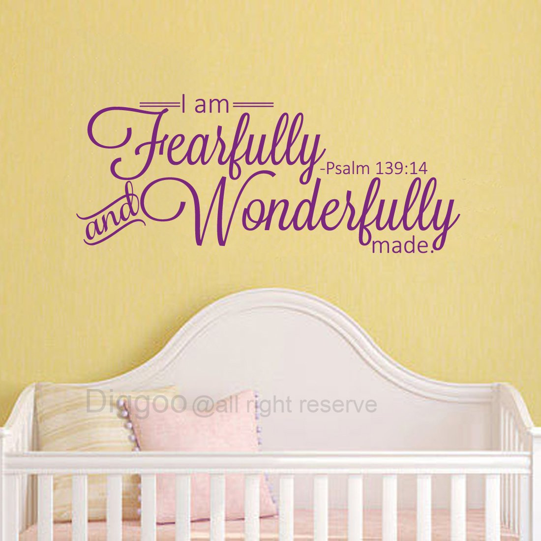 Black,6.6 h x 16 w Diggoo I Am Fearfully and Wonderfully Made Psalm 139:14 Vinyl Wall Decal Sscripture Wall Art Vinyl Lettering